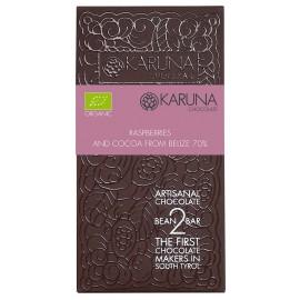 Zartbittere Schokolade mit Himbeeren 70% Belize Karuna BIO 60g