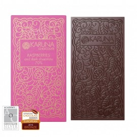 Dark Chocolate 70% Belize with rasperries Karuna ORGANIC 60g